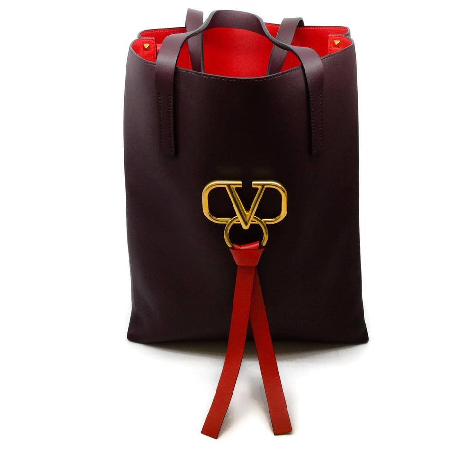 Valentino V Ring Plum / Red Leather Tote
