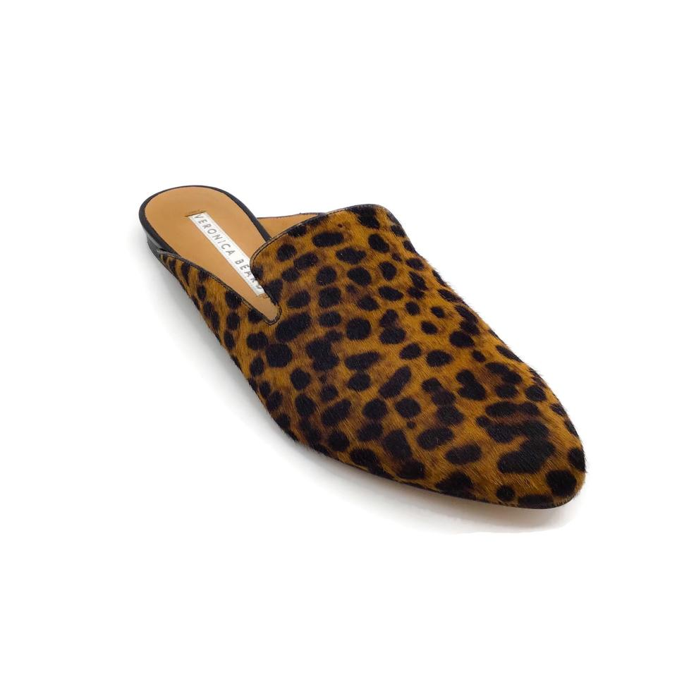 Veronica Beard Leopard Calf Hair Mules/Slides