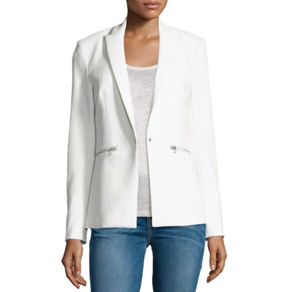 Veronica Beard White Scuba Blazer