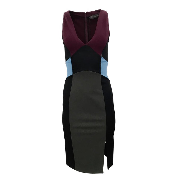 Versace Black/Blue/Plum Ribbed Stretch Night Out Dress