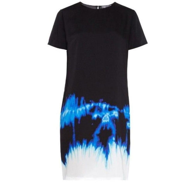 Vince Tie Dye Silk Black Blue White Dress