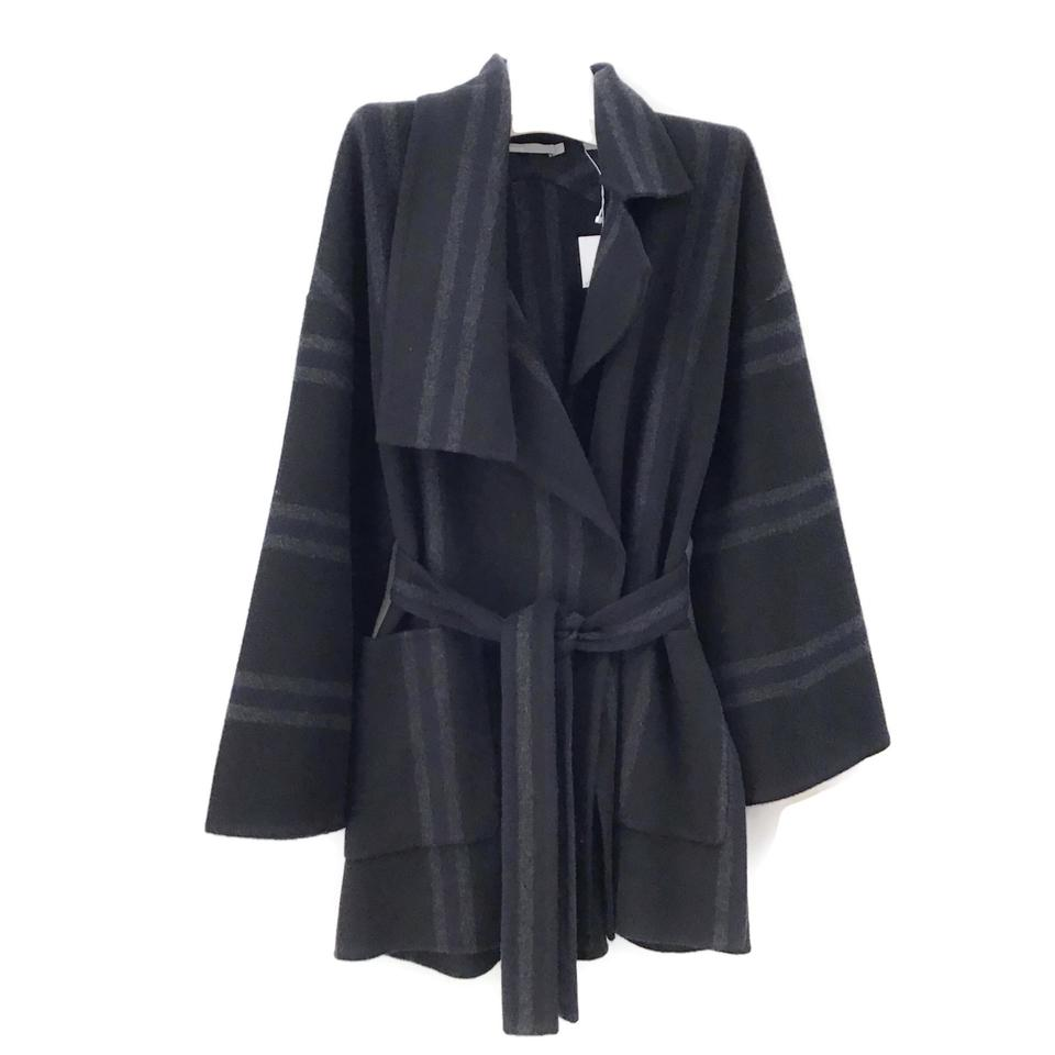 Vince Grey/Black Wool Wrap Coat