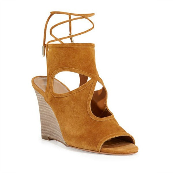 Sexy Thing Cognac Wedges by Aquazzura