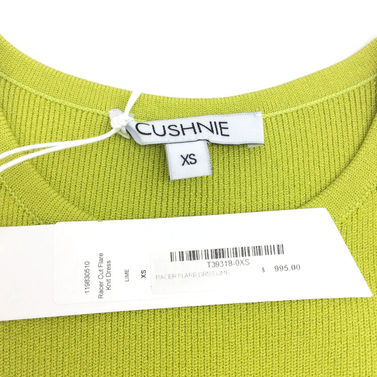 Cushnie et Ochs Lime Green Racer Cut Flare Knit Casual Dress