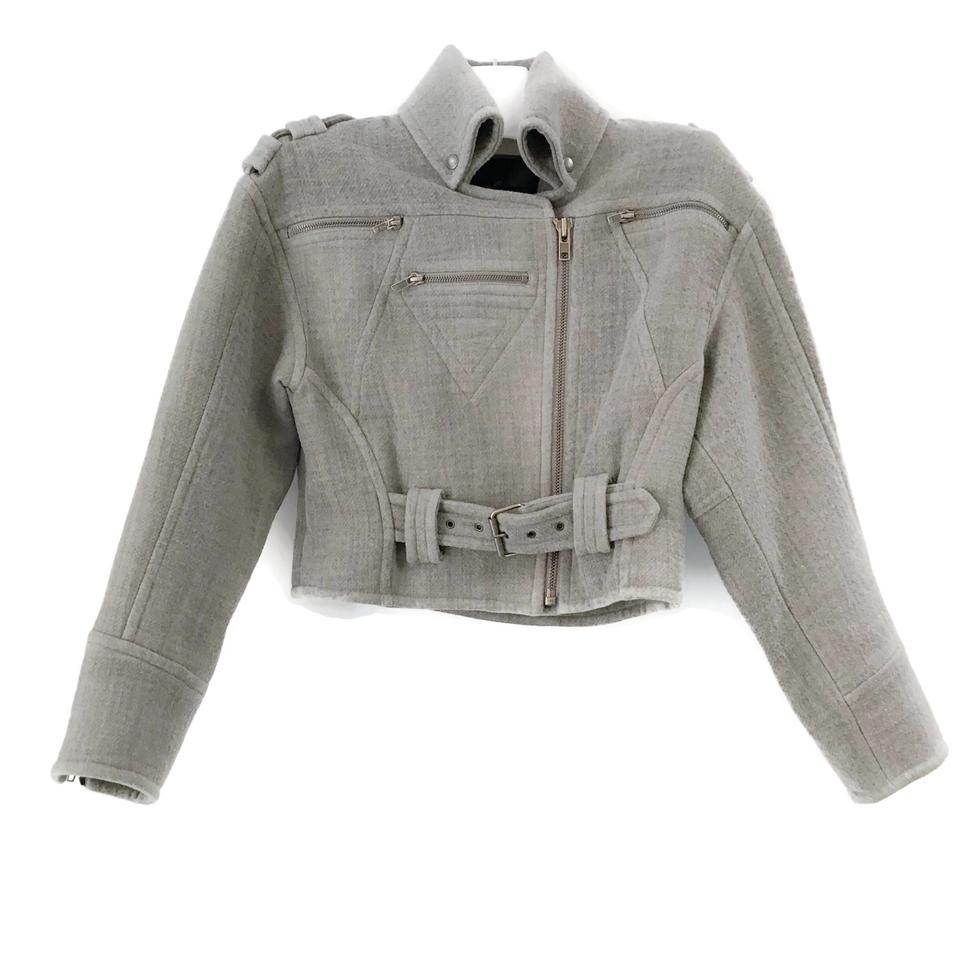 Yigal Azrouël Heather Grey Wool Moto Jacket