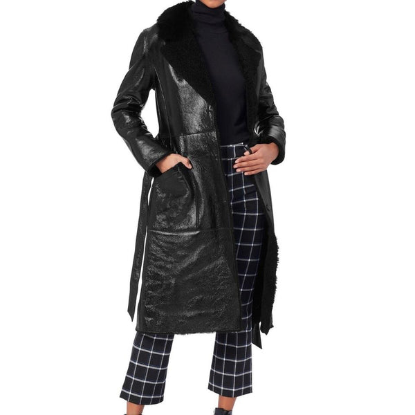 Yves Salomon Black W/Fox Patent Shearling Trench Coat