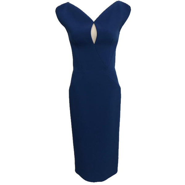 Zac Posen Cobalt Blue Keyhole Fishtail Dress