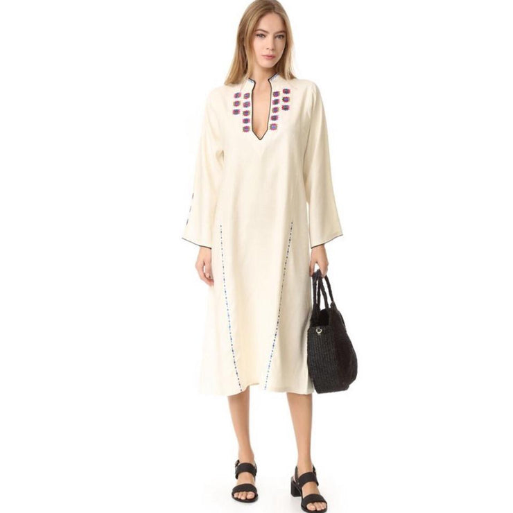 Zeus+Dione Ivory Embroidered Tinos Casual Maxi Dress