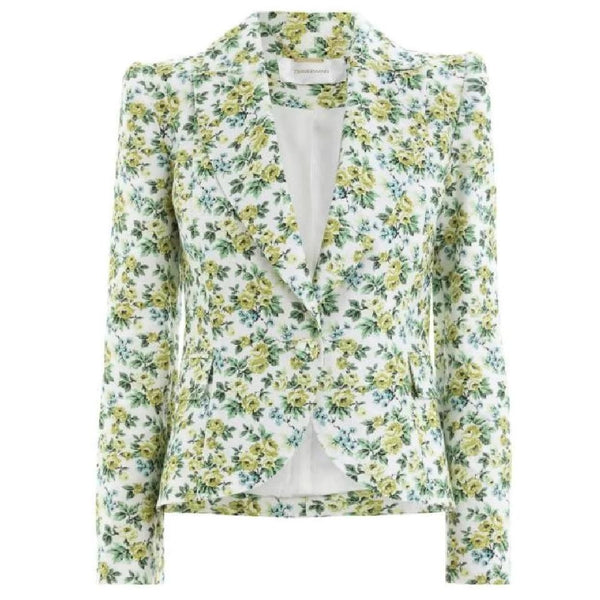 ZIMMERMANN Green Floral Fitted Blazer