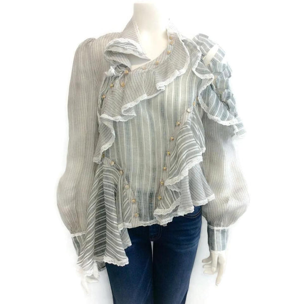 ZIMMERMANN Blue / Gray / White Cavalier Antique Blouse