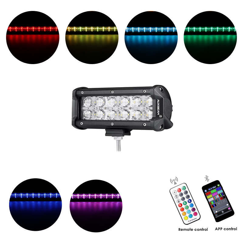 AUXBEAM CROSS-2 SERIES 7 INCH 36W RGB STRAIGHT COMBO BEAM LED LIGHT BAR (RGB CROSS-STYLE DRL) - gregsrepair.com