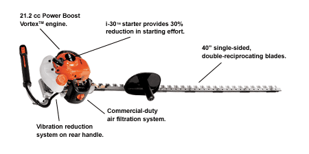 "HC-245 21.2cc Single-Sided Hedge Trimmer with 40"" Blades and i-30 Starter - gregsrepair.com"
