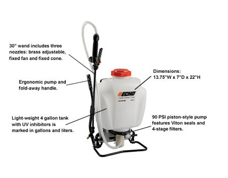 MS-41BP 4 Gallon Backpack Sprayer Piston Style - gregsrepair.com