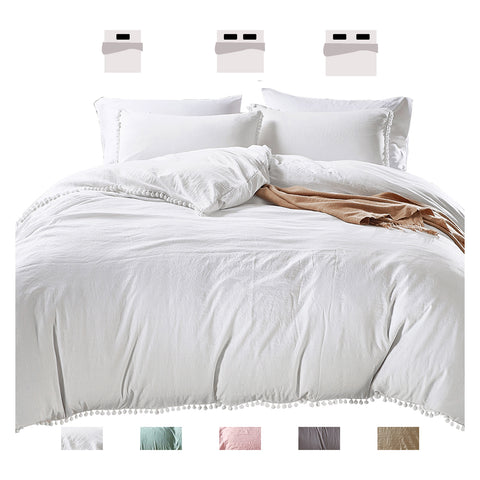 Duvet Cover Set-King Quilt Cover with Zipper Ties Pompom & Envelope Pillowcases
