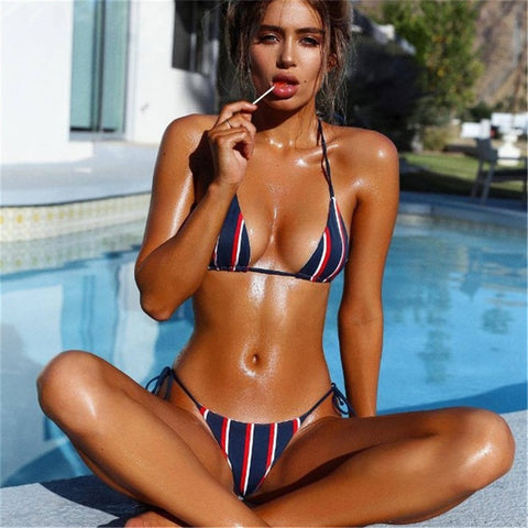 Sexy Tie neck & back and tie side Bikini s00700133