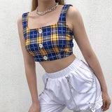 Blue Yellow Contrast Tube Top s0070094-1
