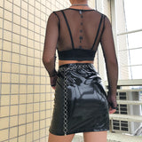 Black large mesh zipper top