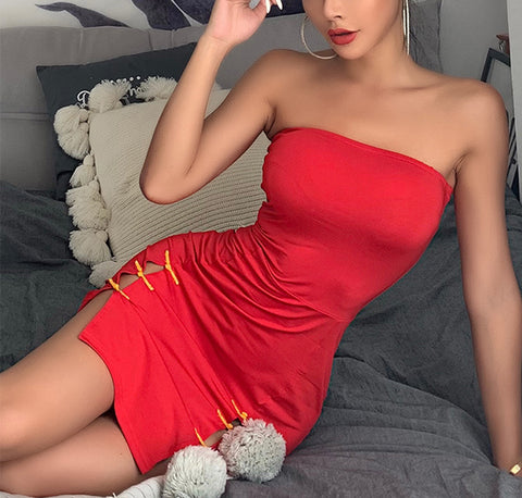 Sexy wrapped chest zipper dress s0060063