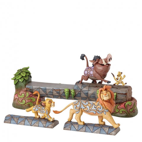 Simba, Timon and Pumbaa on log