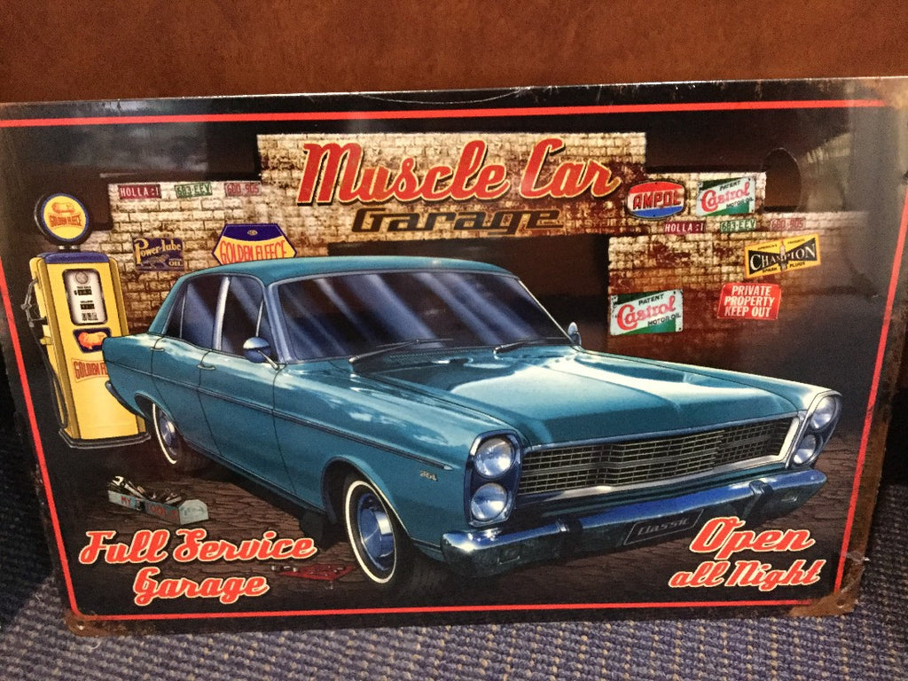 Muscle car garage blue fairlane