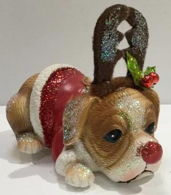 Christmas Dog With Antlers Hanging Ornament