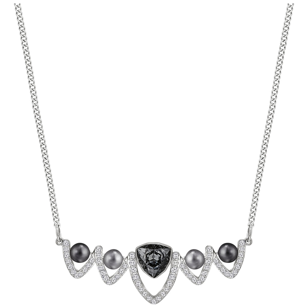Fantastic Necklace Medium, Silver Tone, Rhodium Plated, Crystal Pearl