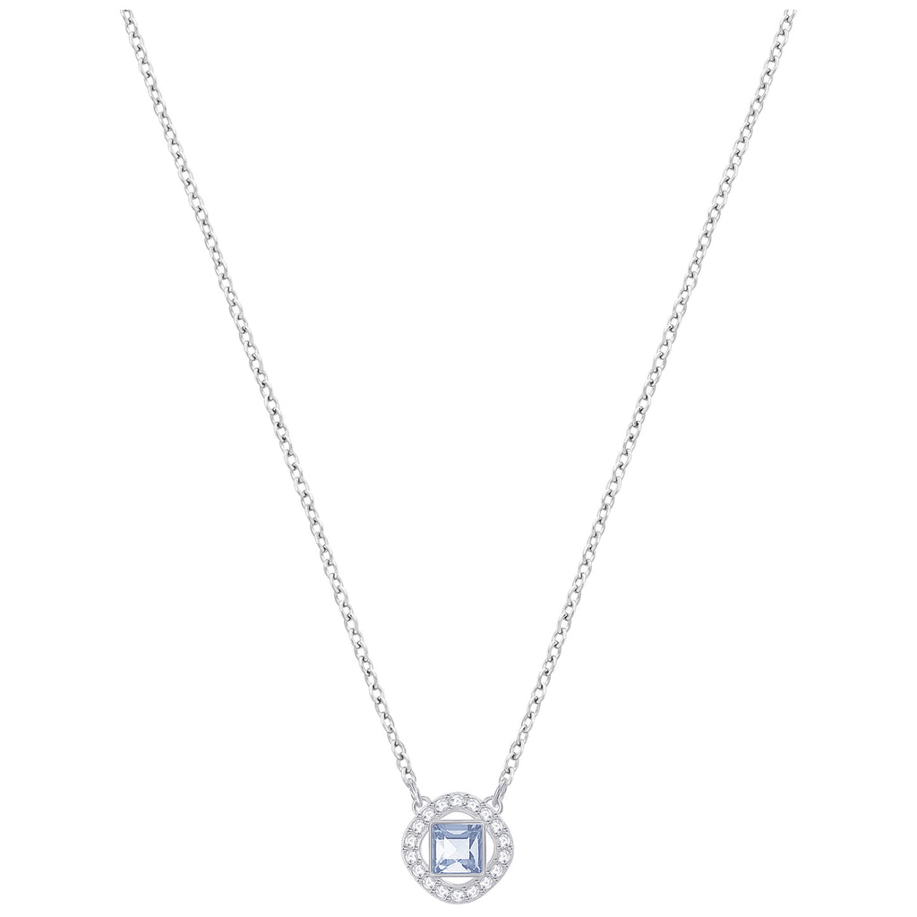 Angelic Square Pendant, Blue, Rhodium Plated