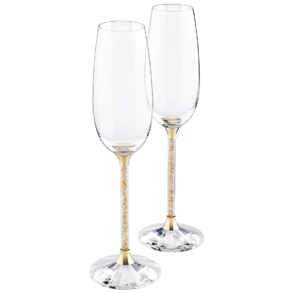 Crystaline Toasting Flutes Gold