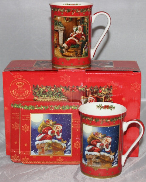 Christmas set 2 mugs boxed