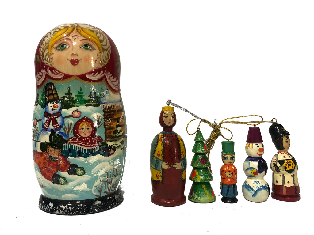 Hanging Ornament Babushka - pink/red sml
