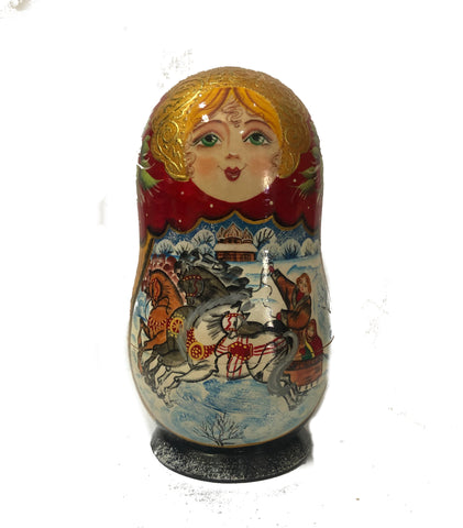 Hanging Ornament Babushka - blue/red