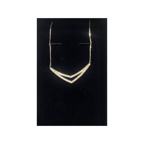 Alpha necklace, White, Rhodium plated