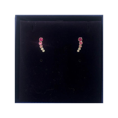 Harley Pierced Earrings, Pink, Rhodium Plated