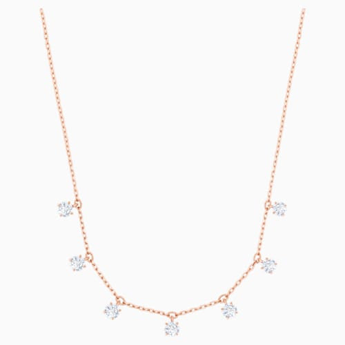 Attract Choker Necklace, White, Rose Gold Tone plated