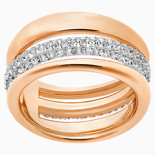 Exact Ring, White, Rose-gold tone
