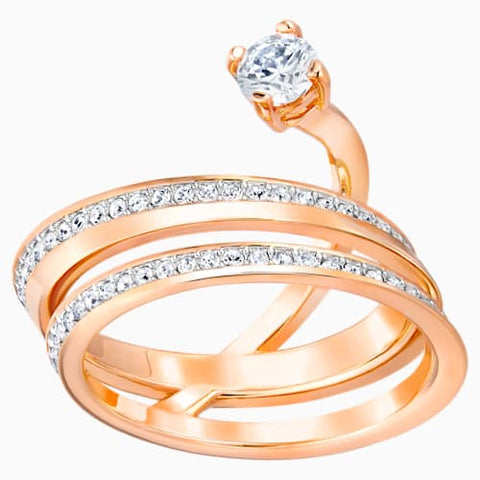 Fresh Ring, Medium, White, Rose-gold tone plated