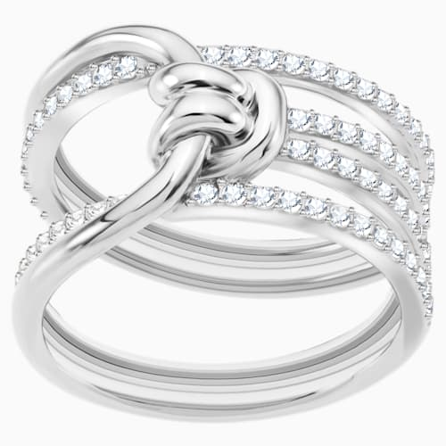 Lifelong Ring Wide, White, Rhodium Plated