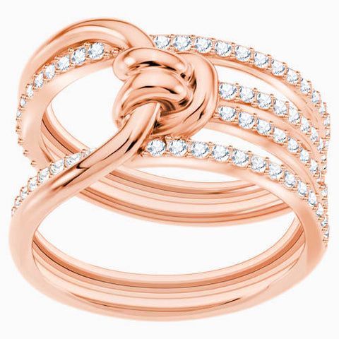 Lifelong Ring Wide, White, Rose-gold tone plated