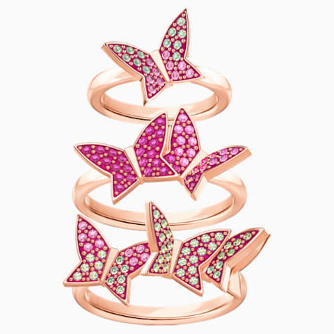 Lilia Ring Set, Multi-Coloured, Rose-gold tone plating