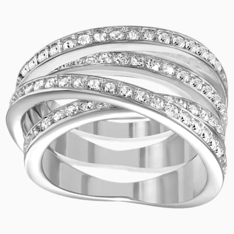 Spiral RIng, White, Rhodium Plated