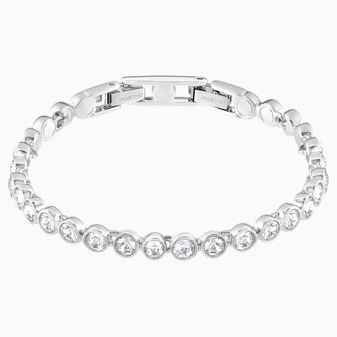 Tennis Bracelet, White, Rhodium Plated
