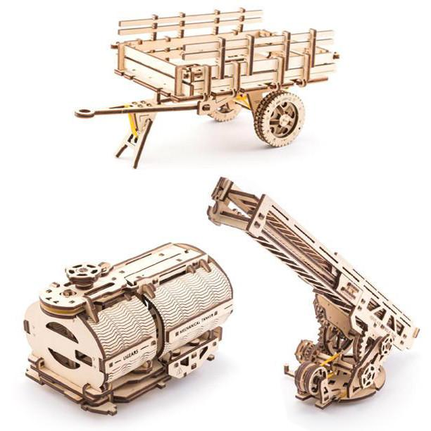UGEARS 3D Wooden Puzzle - Set of Additions for UGM-11 Truck (Tanker, Rescue Ladder and Trailer Chassis)