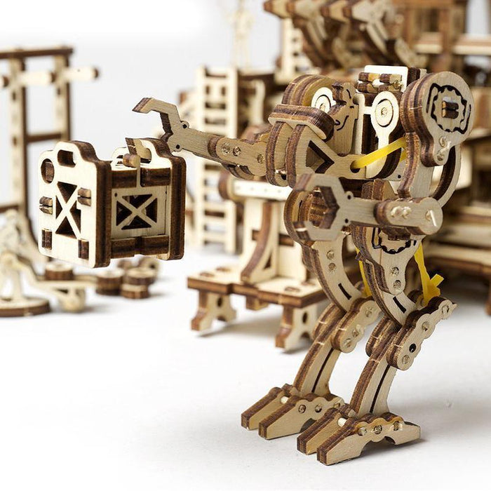 UGEARS 3D Wooden Puzzle - MECHANICAL TOWN SERIES: ROBOT FACTORY