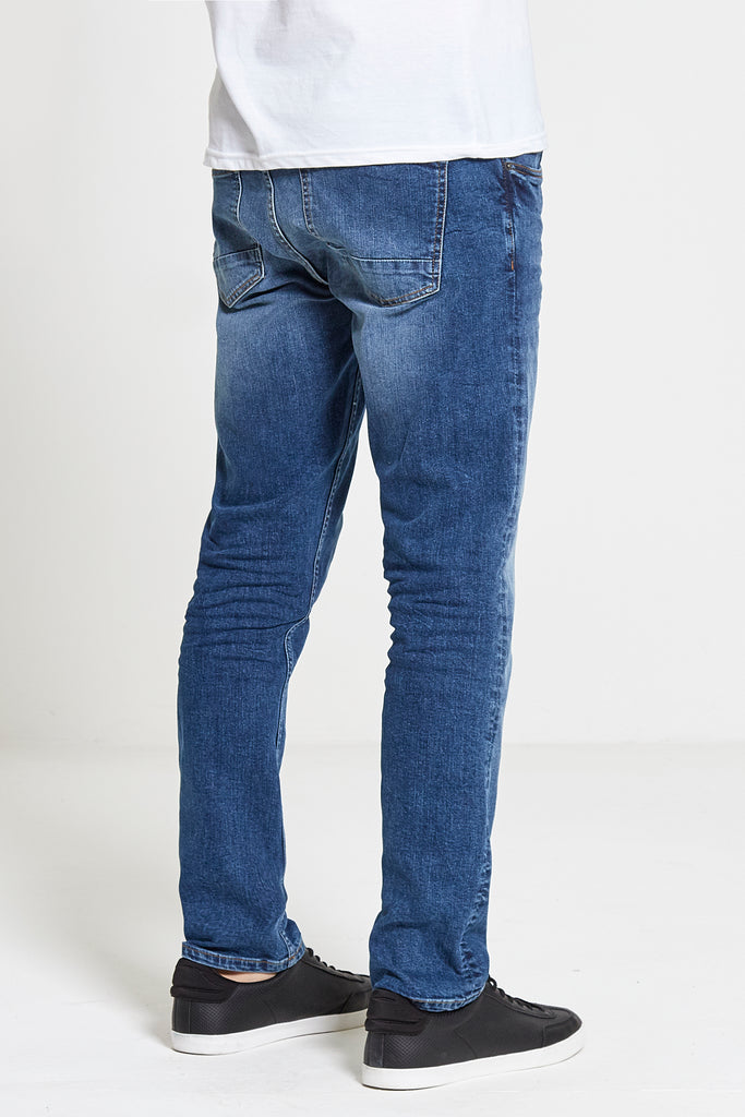 Maverick Slim Straight Stretch Jeans in Mid Wash - DML Jeans