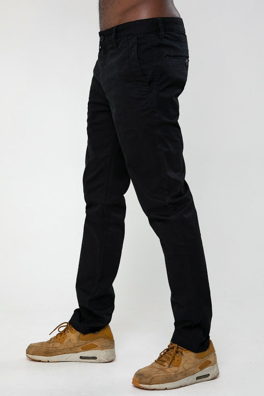Calvin Slim Fit Five Pocket Chino Pant In Black - DML Jeans