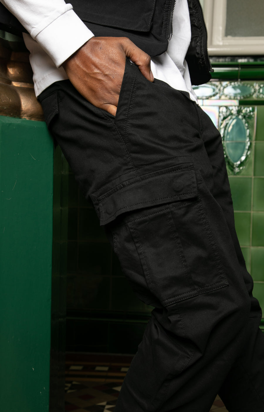 Wade Utility Cargo Pant In Black - DML Jeans