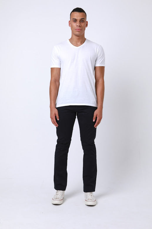 Calvin Slim Fit Five Pocket Chino Pant In Navy - DML Jeans