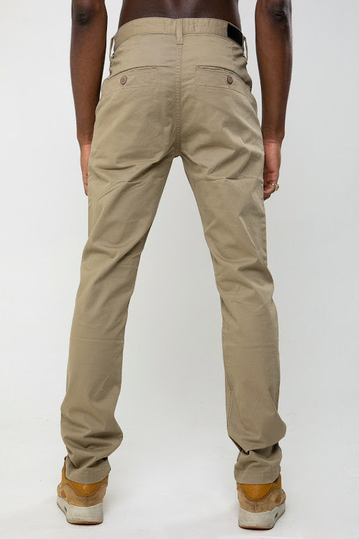 Calvin Slim Fit Five Pocket Chino Pant In Stone - DML Jeans