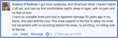 No pain - customer review for Active650 Knee Support