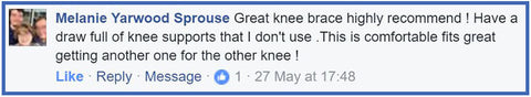 Great knee brace customer review for Active650 Knee Support